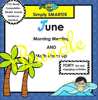 JUNE MORNING MEETING AND MATH WARM UP BUNDLE