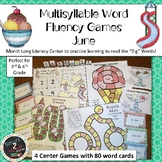 JUNE Multisyllabic Games Word Fluency Literacy Center Big Words