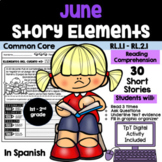 JUNE READING COMPREHENSION: STORY ELEMENTS IN SPANISH (30 SHORT STORIES)