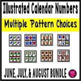 Illustrated SUMMER Calendar Numbers Bundle