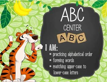 JUNGLE - Classroom Decor: Center Signs, student cards
