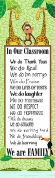 JUNGLE - Classroom Decor: X-LARGE BANNER, In Our Classroom We are Family
