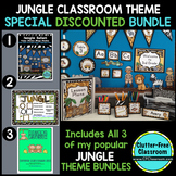 JUNGLE / SAFARI THEME Decor - 3 EDITABLE Clutter-Free Classroom Decor BUNDLE