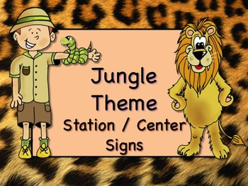 JUNGLE SAFARI Themed Station/Center Signs Great Classroom