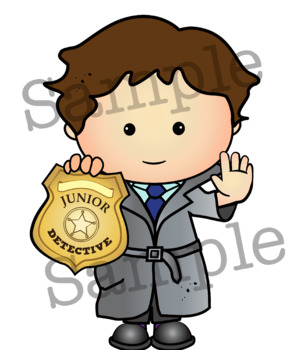 JUNIOR DETECTIVE Clipart. BLACK AND WHITE & Color Bundle. {Lilly Silly Billy}