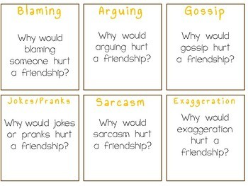 JUNK FEUD: Drama Task Question Cards To Promote Healthy Friendships