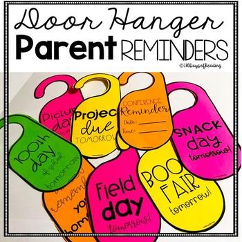 Parent Reminders and Notes Door Hangers