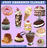 JUST DESSERTS CLIPART, STICKERS, CAKE, DONUT, ICE CREAM