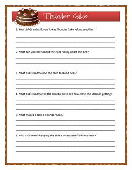 Patricia Polacco THUNDER CAKE - Comprehension & Text Evidence