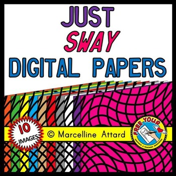 JUST SWAY WAVES DIGITAL PAPER BACKGROUNDS TEXTURED RAINBOW CLIPART