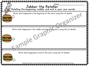 Jabber the Reteller - Reading comprehension strategy teaching unit - beanie baby