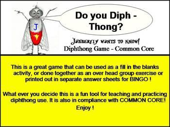 Jabberfly's Diphthong Bingo