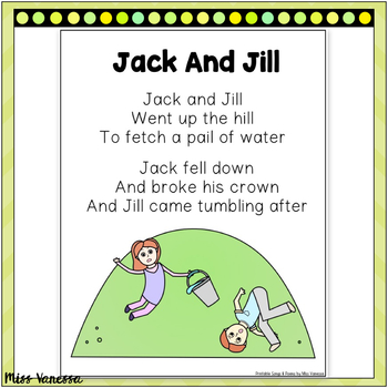 Jack And Jill Printable Poem For Poetry and Music and Movement Activities
