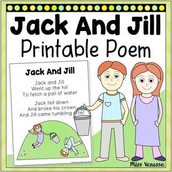jack and jill printable poem for poetry and music and movement rh teacherspayteachers com jack and jill went up the hill clipart jack and jill went up the hill clipart