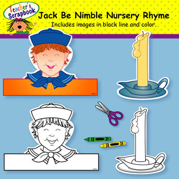 Jack Be Nimble Nursery Rhyme Headbands & Sentence Strips