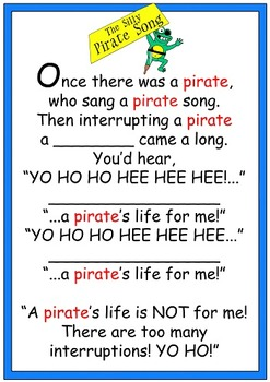 """Jack Hartmann's Unofficial """"Silly Pirate Song"""" Flashcards"""