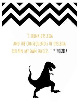 Jack Horner STEM Growth Mindset Poster - Paleontologist - Dyslexia - Dinosaurs