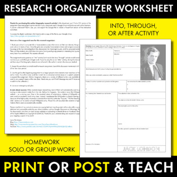 Jack London Author Study Worksheet, Easy Biography Activity, CCSS