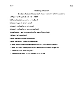 Jack London Introduction Questions