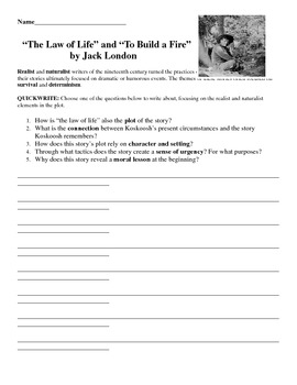 Jack London Short Story Writing Activity