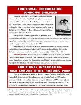 Jack London: WebQuest Research (8 Pages, Answer Key Inc., $5)