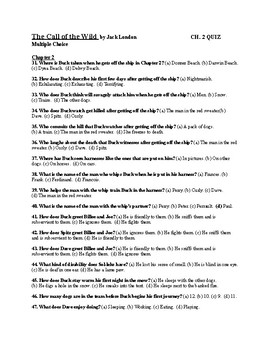 "Jack London's ""The Call of the Wild"" Ch. 2 Quiz (w/ Answer Key)"