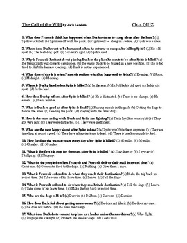 """Jack London's """"The Call of the Wild"""" Ch. 4 Quiz (w/ Answer Key)"""