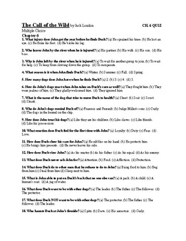 """Jack London's """"The Call of the Wild"""" Ch. 6 Quiz (w/ Answer Key)"""