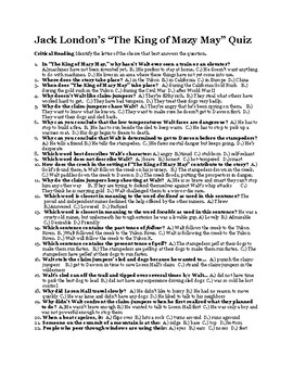 """Jack London's """"The King of Mazy May"""" 50 Question Quiz (w/ Key)"""