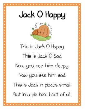 Jack O Happy Pocket Chart & Extension Activities