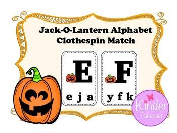 Jack-O-Lantern ABC Clothespin Match