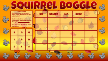 Autumn Activity/Squirrel Boggle -  Google Classroom Ready