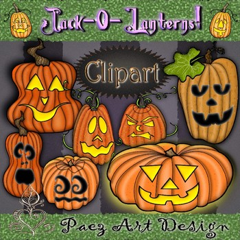 Jack-O-Lantern Clipart {Paez Art Design}