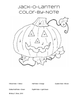 Jack-O-Lantern Color-By-Note