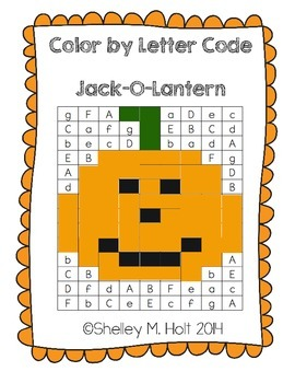 Jack-O-Lantern Color by Letter Code - Halloween