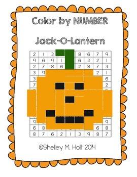 Jack-O-Lantern Color by Number - Halloween