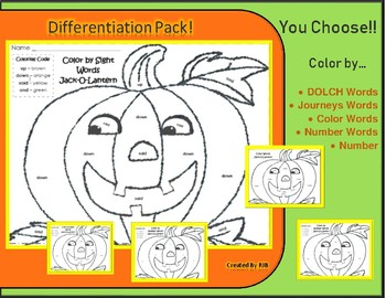 Halloween Differentiation Pack! COLOR WORDS, DOLCH, NUMBER WORDS & more