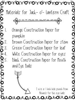 Jack-O-Lantern Craft: Halloween Craft: Fall Crafts:October Crafts: Pumpkin Craft