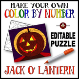Make Your Own Color By Number Jack O' Lantern Editable Color By Number Puzzle
