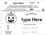 Jack-O-Lantern - Editable Name Booklet w/ Beginning Letter