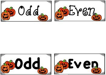 Jack-O-Lantern Even and Odd Ten Frames