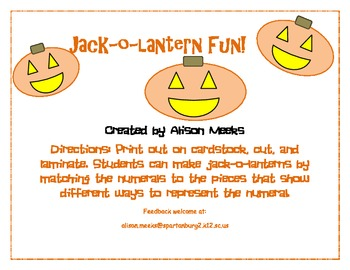 Jack-O-Lantern Fun: Showing Different Ways that Numbers Can Be Represented