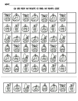 Jack-O-Lantern Halloween Patterning Worksheet FREEBIE