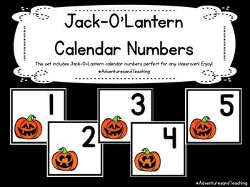 Jack-O-Lantern {Halloween} Themed Calendar Numbers