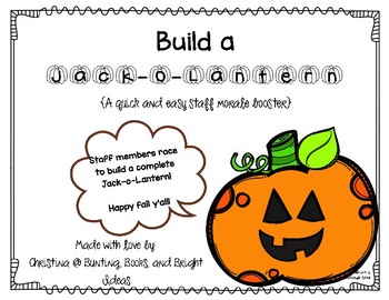 Jack-O-Lantern Match-Up Morale and Community Building for Staff