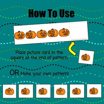 Jack-O-Lantern Pattern Cards & Worksheet - S