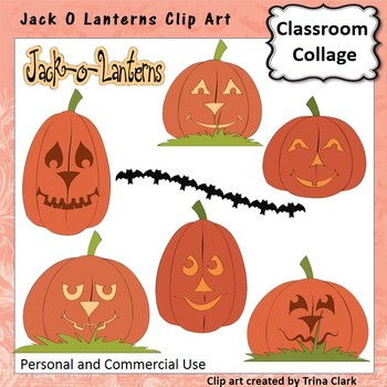 Jack O Lantern Pumpkin Clip Art - Color - personal & commercial use