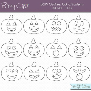 Jack O Lantern Pumpkin Clipart Commercial Use Clip Art WITH B and W Outlines