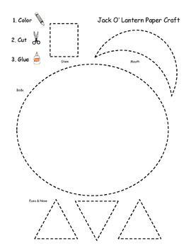 Pre-K Jack O' Lantern Scissor Skills Paper Craft