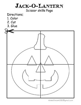 Jack-O-Lantern Scissor Skills Page